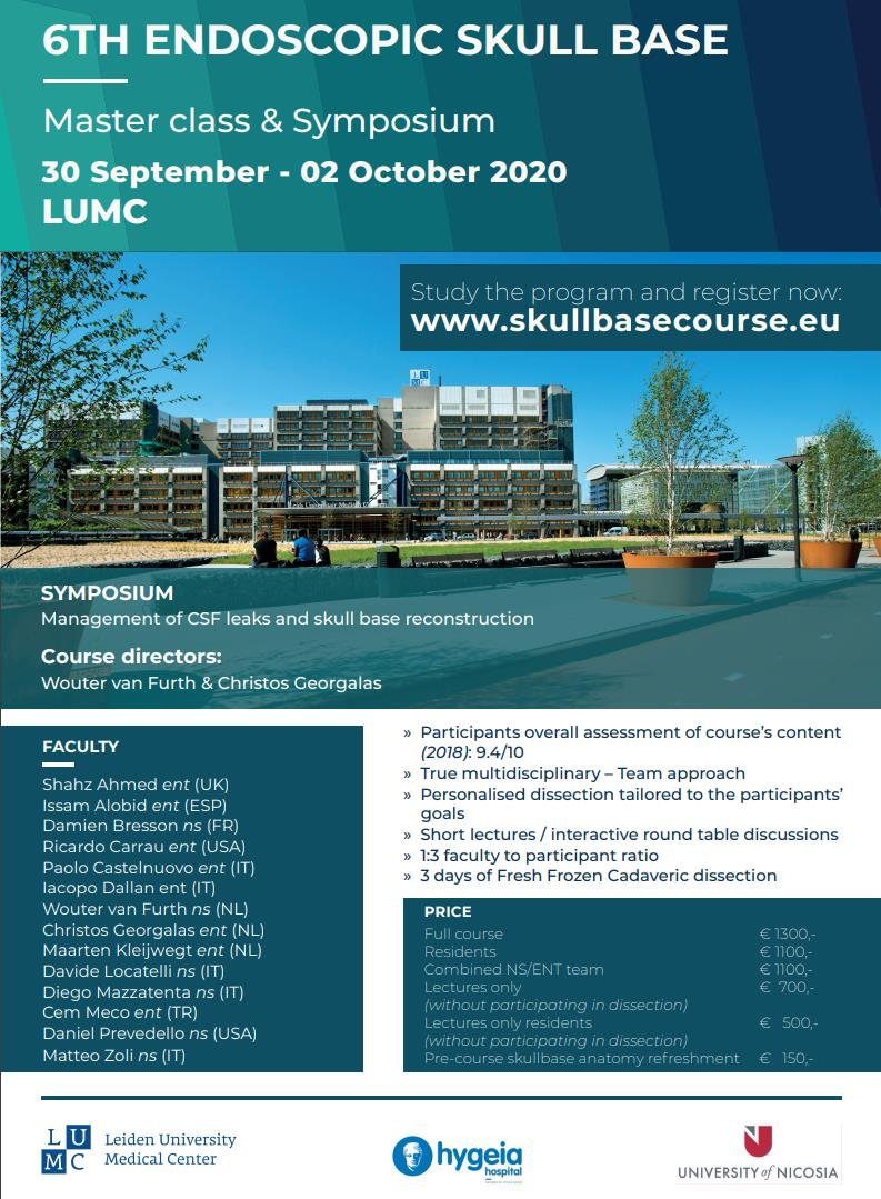6th Endoscopic Skull Base Master class & Symposium∞ Leiden, The Netherlands ∞ 30th September - 2nd October 2020
